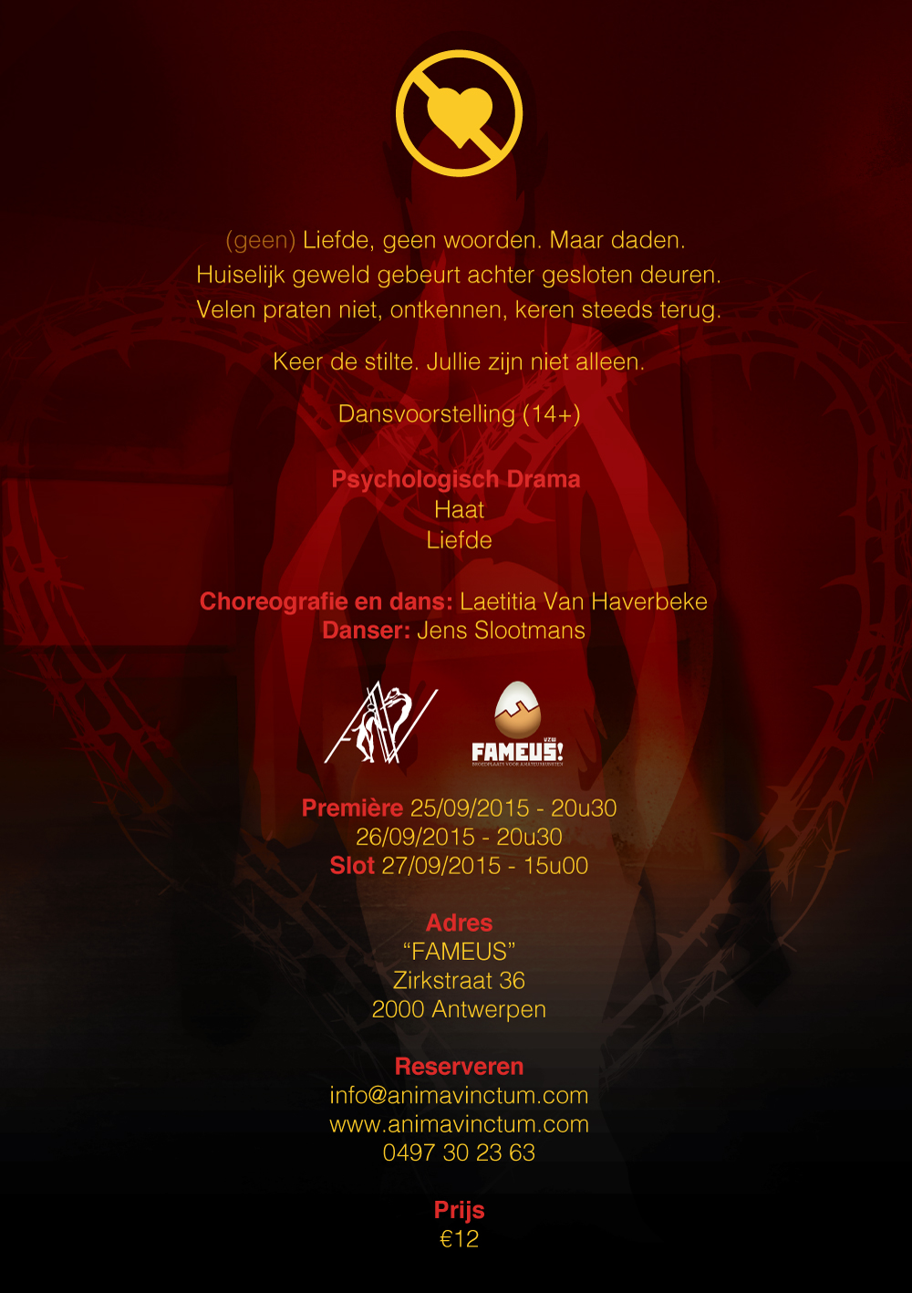theaterproducties anima vinctum no love flyer back